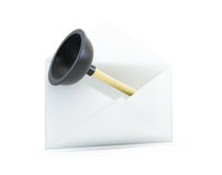 Open letter with a plunger 3D a white background. Open letter with a plunger 3D illustrationon a white background Stock Photo