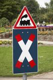 Open level crossing sign. Ature in a park in germany Royalty Free Stock Image