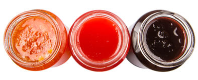 Open Lid Bottled Blueberry, Strawberry, Orange Jam VI Royalty Free Stock Image