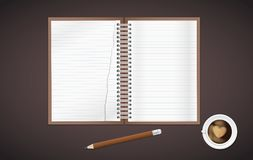 Open lined, torn realistic notepad notebook with spiral and pencil with cup of coffee is on brown background. Stock Images