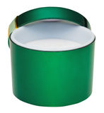 Open little round green empty box Royalty Free Stock Photo