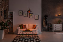 Open living room. With couch, carpet, lamp and bookshelf Royalty Free Stock Photography