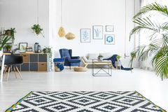 Open living room with plants Royalty Free Stock Image