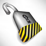 Open lock with attention stripes Stock Photos