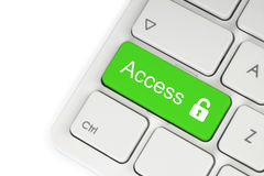 Open lock green button Royalty Free Stock Image