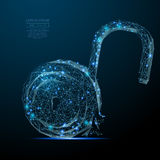 Open lock low poly blue Royalty Free Stock Photography
