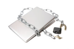 Open lock  metal chain and laptop Stock Image