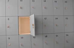Open locker. In a wall of lockers Royalty Free Stock Photography