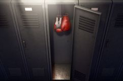 Open Locker And Hung Up Boxing Gloves Stock Photography