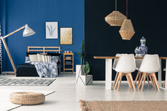 Loft in shades of blue. Open loft in shades from deep indigo to royal blue royalty free stock image