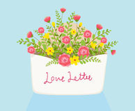 Open love letter with flowers inside over envelope. Illustration Royalty Free Stock Photo