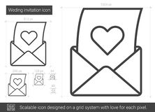 Open love letter line icon. Open love letter vector line icon isolated on white background. Love letter line icon for infographic, website or app. Scalable icon Royalty Free Stock Photography