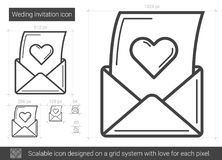 Open love letter line icon. Open love letter vector line icon isolated on white background. Love letter line icon for infographic, website or app. Scalable icon Stock Photo