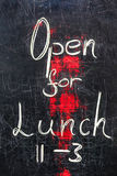 Open For Lunch Blackboard Sign Stock Photography