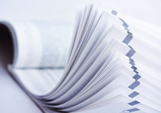 Open magazine. Soft focus view of opened magazine, close-up royalty free stock images