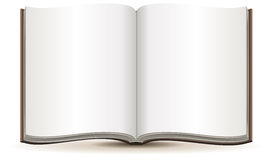 Open magazine with blank pages in a brown cover Stock Photography