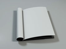 Open magazine with blank pages. 3D rendering. Open magazine with blank pages on white desk. 3D rendering Royalty Free Stock Photos