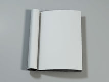 Open magazine with blank pages. 3D rendering. Royalty Free Stock Photography