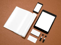 Open magazine, tablet, business cards cover with blank white page mockup  on leather substrate Stock Photos