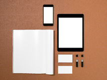 Open magazine, tablet, business cards cover with blank white page mockup  on leather substrate Royalty Free Stock Image