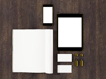 Open magazine, tablet, business cards cover with blank white page mockup on vintage wooden substrate. High resolution Stock Photos