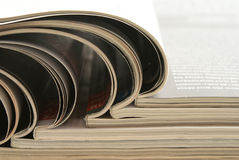 Open magazines. Stack of open magazines - close-ups Royalty Free Stock Images