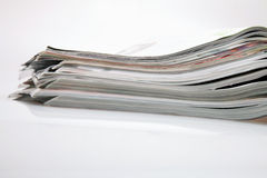 Open magazines. On white table Stock Photography