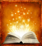 Open magic book with lights