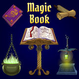 Open magic book and set of fairy tale elements Stock Images