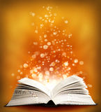 The open Magic Book with sparklings royalty free stock photography