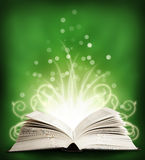 The  open Magic Book with sparklings. green Royalty Free Stock Photography