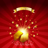 Open magic gift with fireworks from light effect  .Holiday gift greeting card Royalty Free Stock Photos