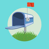 Open mail box on grass flat design vector Royalty Free Stock Photo