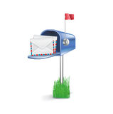 Open mail box on grass with letters  Stock Photography