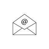 Open mail line icon, representing email, envelope. Social media, vector graphics, a linear pattern on a white background, eps 10 Stock Photography