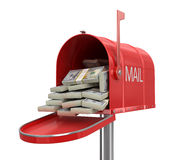 Open mailbox with dollars (clipping path included) Royalty Free Stock Photos