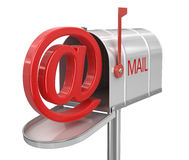 Open mailbox with E-mail sign (clipping path included) Royalty Free Stock Image