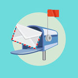 Open mailbox with envelope flat design  Stock Photo
