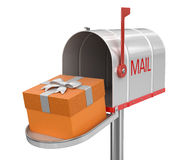 Open mailbox with gift (clipping path included) Royalty Free Stock Photos