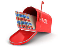 Open mailbox with letters (clipping path included) Stock Image