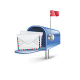 Open mailbox with letters inside  on white Royalty Free Stock Photo