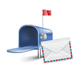 Open mailbox with letters inside  on white Stock Photos