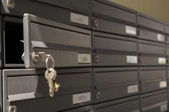 Open mailbox. Mailboxes of an apartment facility, an open royalty free stock image