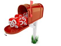 Open mailbox with percentage signs. Isolated on white background Stock Photo