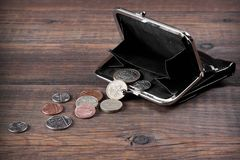 Open Male Black Leather Wallet With British Different Coins Stock Image