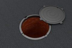 Open manhole on the asphalt Royalty Free Stock Images