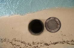 Open Manhole on Beach Royalty Free Stock Photos