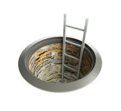 Open manhole with a ladder inside. On a white background Stock Images