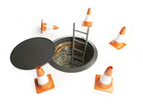 Open manhole with a ladder inside Stock Image