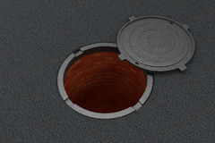 Open Manhole On The Asphalt Royalty Free Stock Images